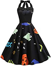 acction Women's Vintage Print Halter Halloween Sleeveless Evening Party Swing Cocktail Dress