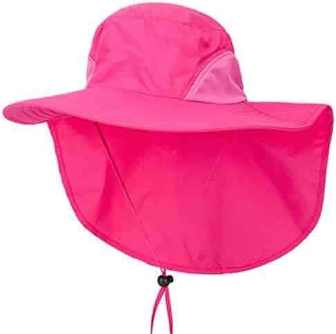 Lanzom Men Women Sun Protection Cap Wide Brim Fishing Hat with Neck Flap  UPF 50+ 5de7a8100361