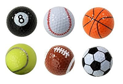 Assorted Designed Golf Balls (Soccer, Basketball, Football, Tennis, Baseball, 8-Ball) - 6 balls in a box