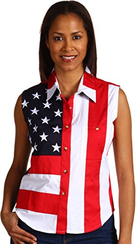 Rangewear By Scully Women's Patriotic Sleeveless Top Red Medium