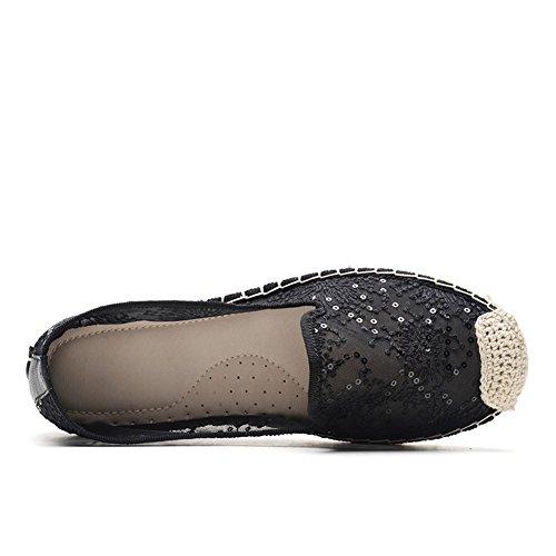 Noir Origine Flat Femme Canvas Classique Tiosebon Crochet Casual 2301 Espadrilles 7wz4Iwq6