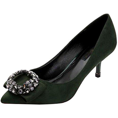 Sillas Tacones De Mujeres De De Diamantes Zapatos Aguja Tacones Imitación Zapatos Zapatos De De Para Trabajo Aguja De Green Boda Salón rzwzq
