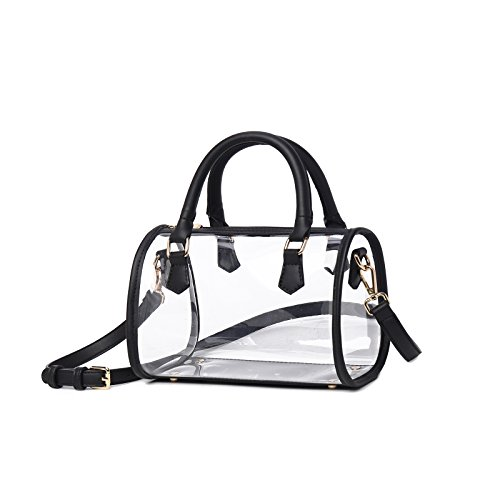 972091399506e5 Lam Gallery Womens Clear Purse Transparent Handbags for Work Concert NFL  Stadium Approved Clear Bags See Through PVC Plastic Bag Top Handle  Satchel(Black ...