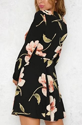 Picture Printed Long Dress V Women's As Jaycargogo Neck Mini Floral Sexy Deep Sleeve qRO0O4p