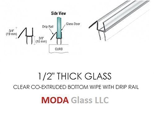 Great Features Of 1/2 Frameless Glass Shower Door Sweep - Bottom Seal - Wipe - Drip Rail - 31