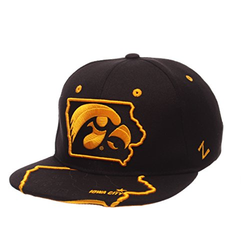 Zephyr NCAA Iowa Hawkeyes Men's Stateline Snapback Cap, Adjustable Size, Charcoal