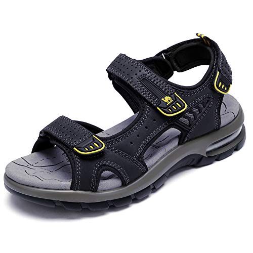 Camel Apparel - CAMEL Men's Beach Sandals Comfy Lightweight Sandals Genuine Leather Sport Casual Elastic Slippers(Black, 8 US)