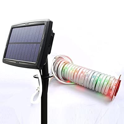 Solar Strip Lights 60 RGB LED 16.4FT with 2 Lighting Mode 27 Different Color Changing for Outdoor Indoor Home Lighting and Decoration