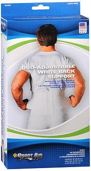 Sport Aid Duo-Adjustable White Back Support XS/SM - 1 ea., Pack of 6 by SportAid
