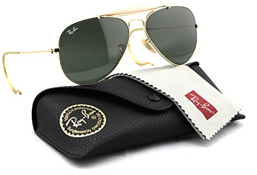 Ray Ban Aviator Wrap Sunglasses - Ray-Ban RB3030 L0216 Aviator OUTDOORSMAN Gold Frame / Classic Green Lens