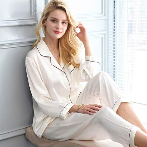 Invierno 100 Size White Seda Otoño Shiduoli Para Mujer Xxl Pijamas color Pink Dormir De TqFw48pa