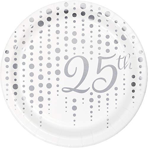 Silver 25th Anniversary Dessert Plates, 24 ct