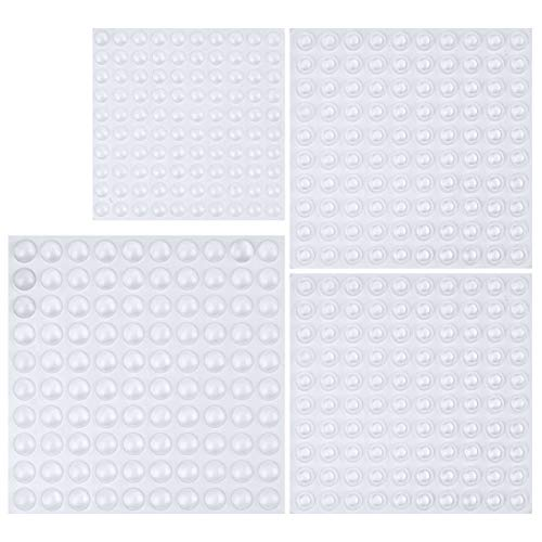 Cabinet Door Bumpers, Clear Adhesive Rubber Bumper Pads - Round, 400 Pieces, 3 Sizes