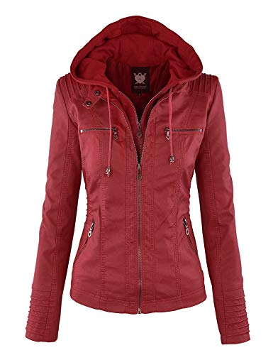 LL WJC663 Womens Removable Hoodie Motorcyle Jacket XS RED