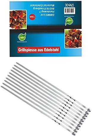 GMMH Brochetas Pinchos Pinchos, Schampura 10 Unidad Acero INOX, 50 cm - 1 - Pack
