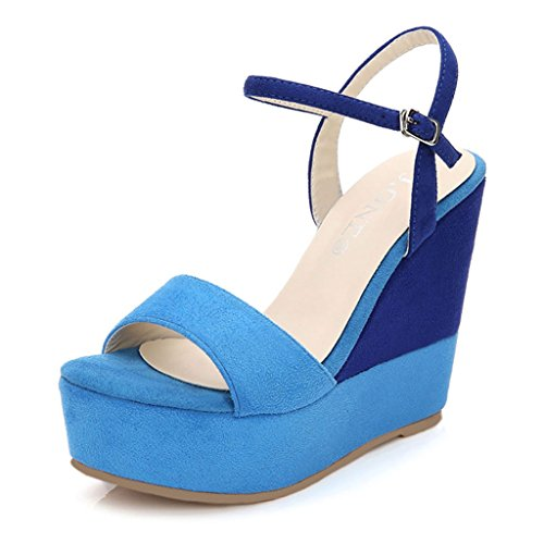 Peep Sandals Blue Shoes Women's Wedge Casual Summer 10cm Heels Elegant Platform Sexy Toe FIF4a