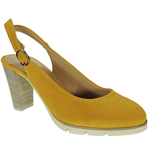 Serraje Tacón Mostaza Para Zapato Desiree 2102 Descubierto 8cm Ancho Mujer xqZtnA6w