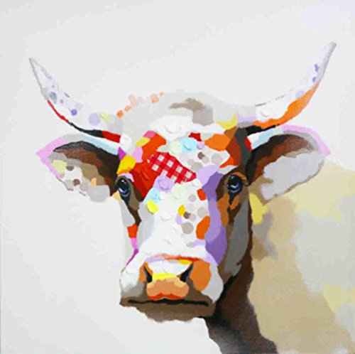 Bignut-Art 100% Hand Painted Animal Farm Cow Modern Home Wall Art on Canvas for Living Room Bedroom Home Wall Decor Stretched and Framed Ready to Hang (30