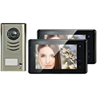 Video Door Phone Intercom System 2 Color Touch Screen Monitors & Night Vision CCD Camera Sd Card Reader