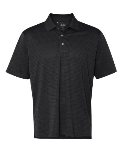 adidas A161 Mens ClimaLite Textured Polo - Black, Large