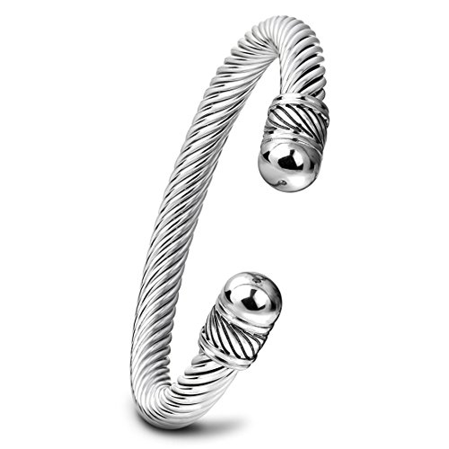 Wholesale Stainless Steel Bracelets - Qiao La Adjustable Mens Womens Stainless Steel Twisted Cable Bangle Bracelet Gold Silver Two-tone QL542 (sliver)