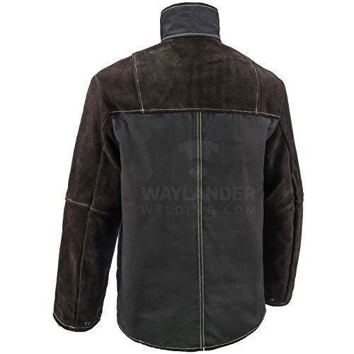 Waylander Welding Jacket Medium Split Leather Heat Fire Resistant Cotton Kevlar Stitched Cowhide Dark Brown - M by Waylander (Image #1)