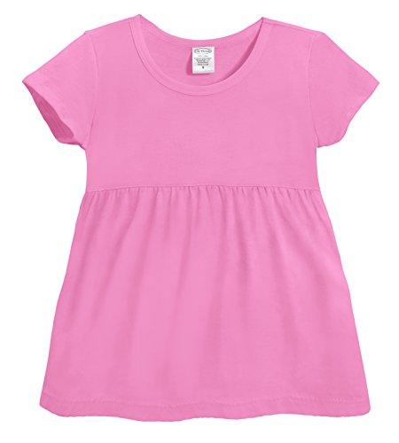City Threads Girls Cotton Short Sleeve Empire Waist Tee Shirt Top Blouse for Summer Play School Parties Stylish SPD Sensory Friendly, Medium Pink,6/9m