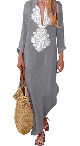 Ainr Womens V Cou Lin Lâche Pull-over Floral Navajo Robes À Manches Longues Gris