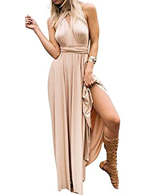 Clothink Women's Convertible Wrap Multi Way Party Long Maxi Dress
