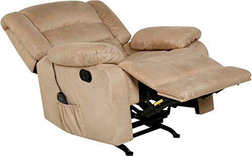 Relaxzen Massage Rocker Recliner with Heat and USB, Beige Microfiber