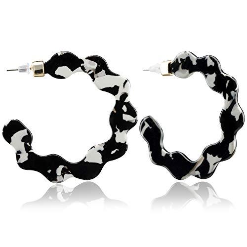 Enameljewelries Wave Tortoise Shell Hoop Earrings Lightweight Acrylic Resin Hoop Earrings with Hypoallergenic 925 Silver Post for Women (C3#Black)