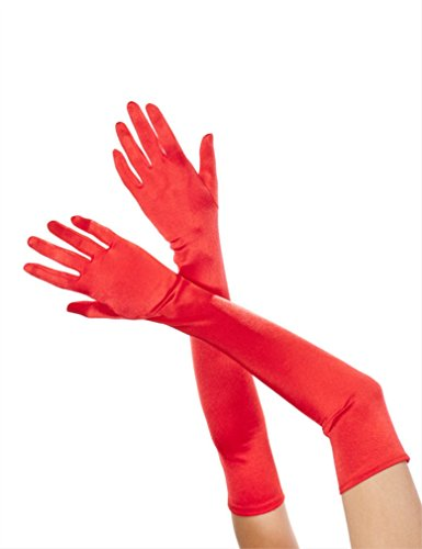 Extra Long Satin Gloves Costume Accessory - Red Extra Long Satin Gloves