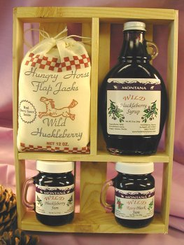 Deluxe Gift Crate: 10oz Huckleberry Syrup, 2-5oz Jams & 12oz Flap Jack Mix by Taste the Wilderness