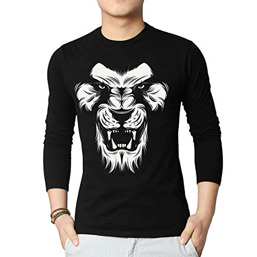 Lion Tee Face - Miracle(Tm) Lion Face Black Graphic Tee for Men - Adult Black Casual Shirt (XS)