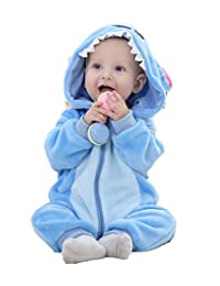 PoonStyling Unisex-Baby Flannel Romper Animal Onesie Pajamas Outfits Suit
