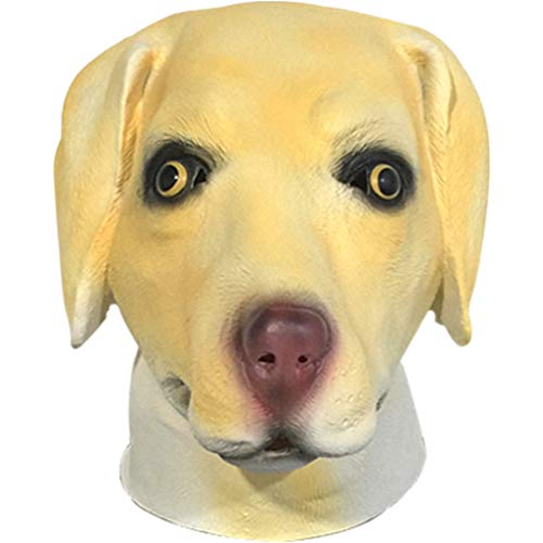 QIAO Labrador Mask Halloween Props Animal Mask Decoration Cosplay Party Tricks Latex Props Costume Ball Head Cover (Color : A) -