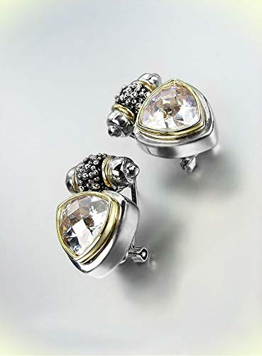 NEW Designer BALINESE Silver Caviar Dots Smoky Topaz Crystals Omega Earrings For Women Set SG