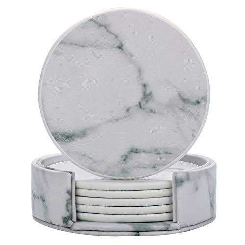 Outgeek 6 PCS Marble Coasters Cup Coaster Creative Round Edge Cup Mat Drink Coaster for Home ()