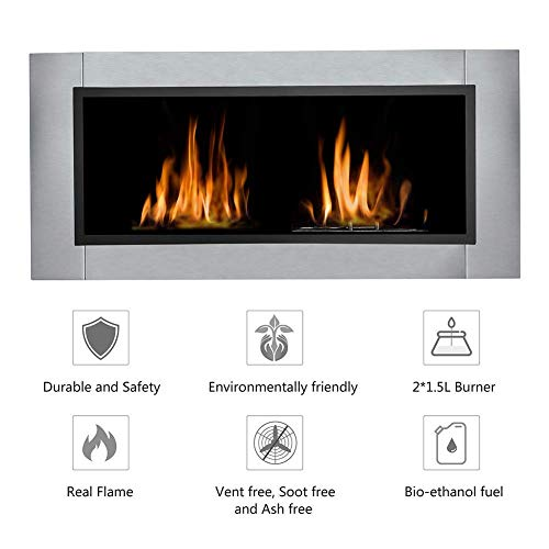 43.3'' Wall Mounted Recessed Bio Ethanol Fireplace Dual Burner Ventless Space Heater Built In Wall Gas Fireplaces, Smokeless and Thermostability
