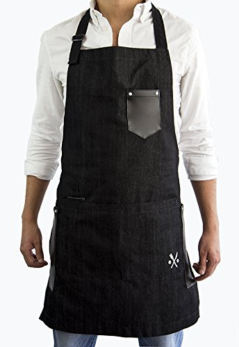 MASHO int CHEF BLACK CLASSIC APRON FOR MEN, IDEAL FOR KITCHEN, BBQ GRILL, RESTAURANTS OR FATHER´S DAY GIFT OR MEN GIFTS + MULTIFUNCTIONAL POCKETS + FIT ALL SIZES UP TO XXXL Kitchen Collection Apron