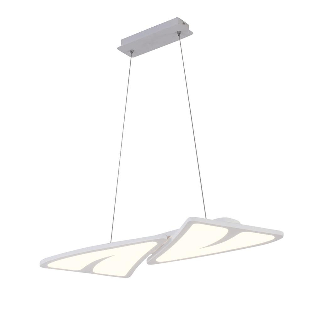 Modern Chandelier, Simple LED Blanco Chandelier, Modern Lámparas Creativas Ultra Delgadas para Restaurante, Sala de estar, Dormitorio 0a15ad