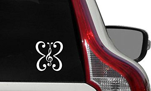 (Music Note Butterfly Car Vinyl Sticker Decal Bumper Sticker for Auto Cars Trucks Windshield Custom Walls Windows Ipad Macbook Laptop Home and More (White))