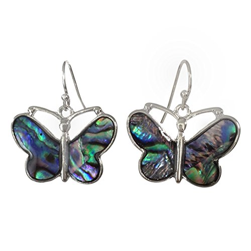 (Abalone Shell Inlay Animal Theme Silver Tone Dangle Earrings (Butterfly))