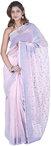 Exotic India Pink-Dogwood Sari from Lucknow with Chikan Embroidery by Hand (Pink Indian Sari Adult Costume)