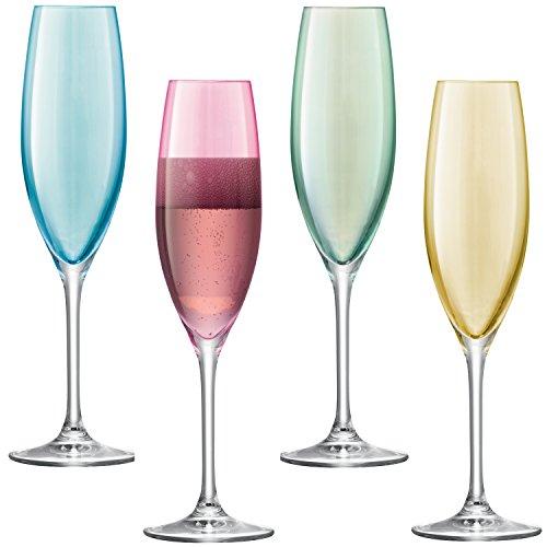 LSA International Pastel Polka Champagne Flute (4 Pack), 7.6 fl. Oz., Assorted