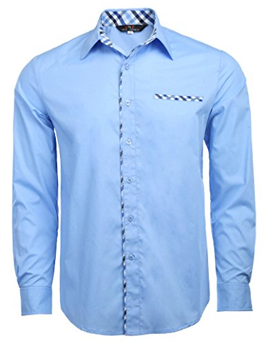 Men Casual Cotton Fitted Shirts Point Collar (Size M, Sky Blue-1)