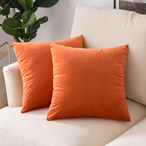 Woaboy Pack of 2 Velvet Throw Pillow Covers Decorative Pillowcases Solid Soft Cushion Covers Pillow Case Square Cojines for Couch Living Room Sofa Bedroom Car 18x18 inch 45x45cm Orange