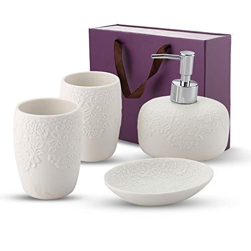 Premium Bathroom Accessories set, 4 Pieces, Porcelain Lotion/Liquid Soap Dispenser, Soap Dish, Tooth Brush Holder, Tumbler – The Ideal House Warming (Porcelain Soap Holder)