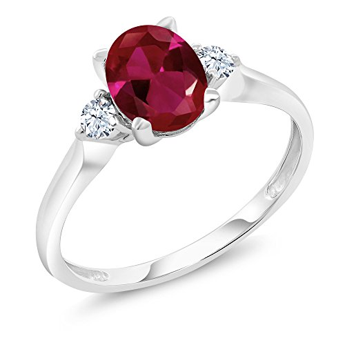 Five Stone Ruby Ring - 10K White Gold Red Created Ruby and White Created Sapphire 3-Stone Women's Ring (1.25 Ct Available in size 5, 6, 7, 8, 9)