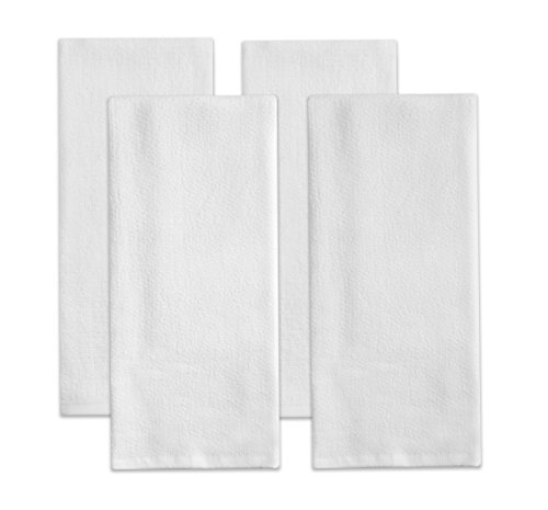 (Sticky Toffee Cotton Terry Kitchen Dish Towel, 4 Pack, White, 28 in x 16 in)